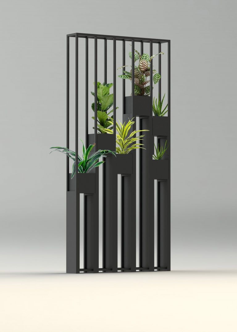 Greentower, confined in the metal to separate the rooms or in the gardens...Design ...